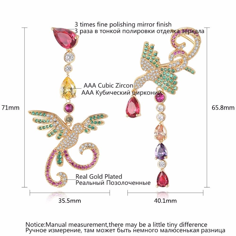Image 5 - LUOTEEMI Delicate Gorgeous Sumptuous Multicolor Phoenix Shape Long Drop Earrings Gift For Girl Friend Wife Mom Aniversary PartyDrop Earrings   -
