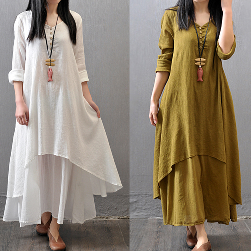 Spring Summer Women Long Cotton Linen Dress White Plus Size False ...