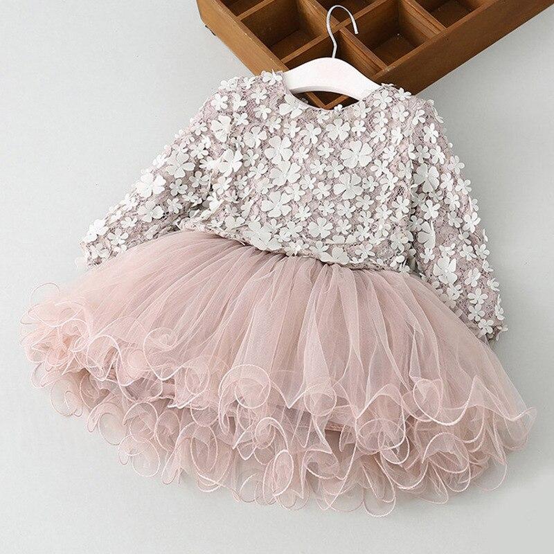 Nuevo encaje flor princesa vestido chica de primavera 2018 vestido de invierno de manga larga pétalos tridimensionales pompón hilado neto ropa