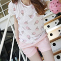 2017 Cute pajamas sets with white and pink  color sweet icecreams printed women pajama sets hot selling