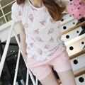 2017 conjuntos de pijama Bonito com branco e rosa cor doces gelados impresso conjuntos de pijama das mulheres venda quente