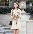 2016 Осень Моды Пальто Для Женщин Ветровка Пальто Тонкий Двубортный Длинное Пальто Женский Casaco Манто Femme Feminino