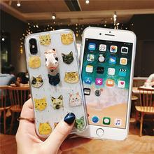 3D Cat Doll With Muilt Stickers Soft Clear Phone Case For iPhone XS MAX Funny Kitty Glitter Cover For iPhone 6 7 8 6s Plus Funda  - buy with discount