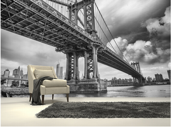 Custom black and white photo wallpaper,New York Bridge, large 3d mural for sofa kitchen Cafe tv background vinyl wallpaper brooklyn bridge pop up card 3d new york souvenir cards