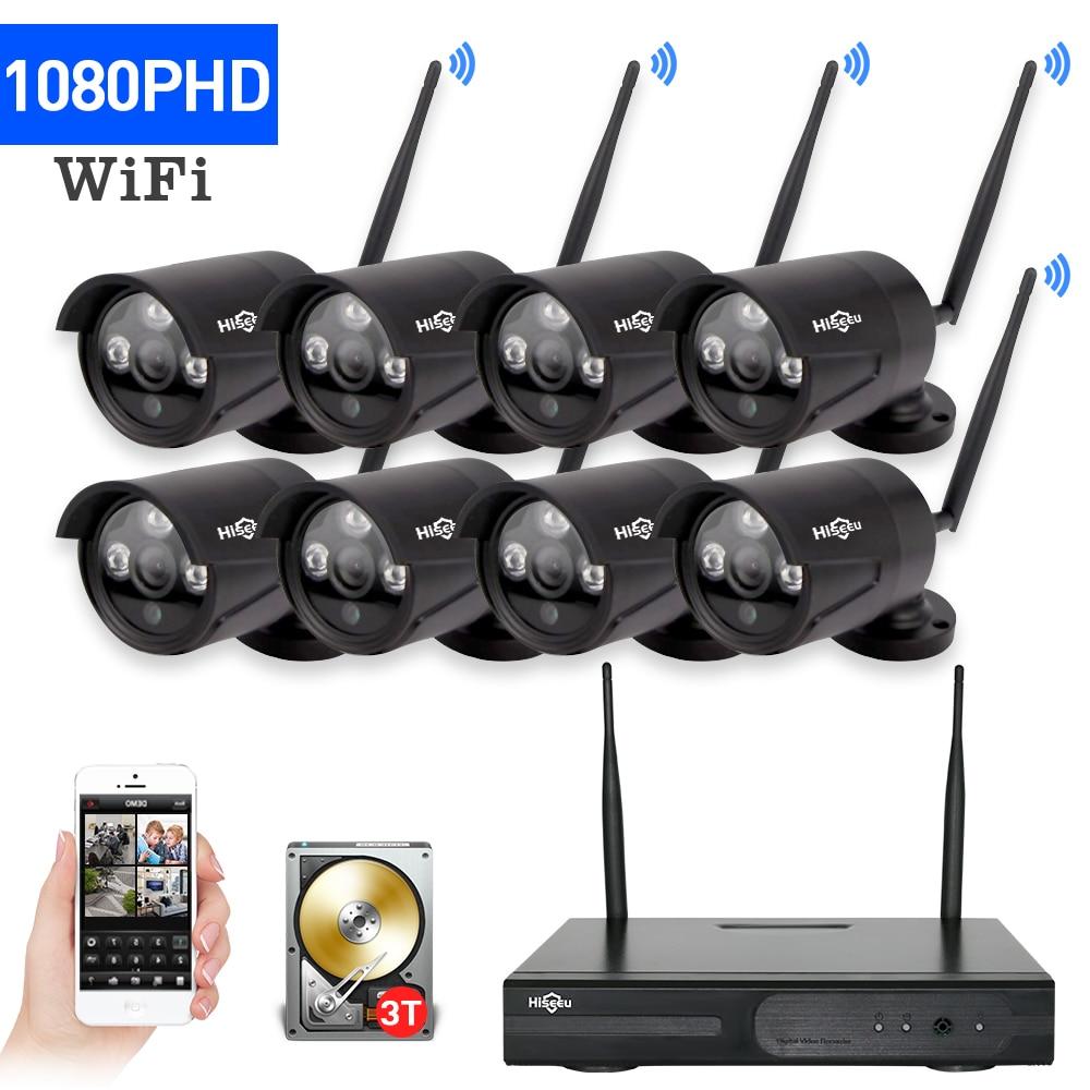 2MP 8ch CCTV Системы Беспроводной 1080 P NVR комплект 8 шт. Wi-Fi ip-камер черный 3 ТБ HDD вариант открытый ночное Видение безопасности Системы Hiseeu