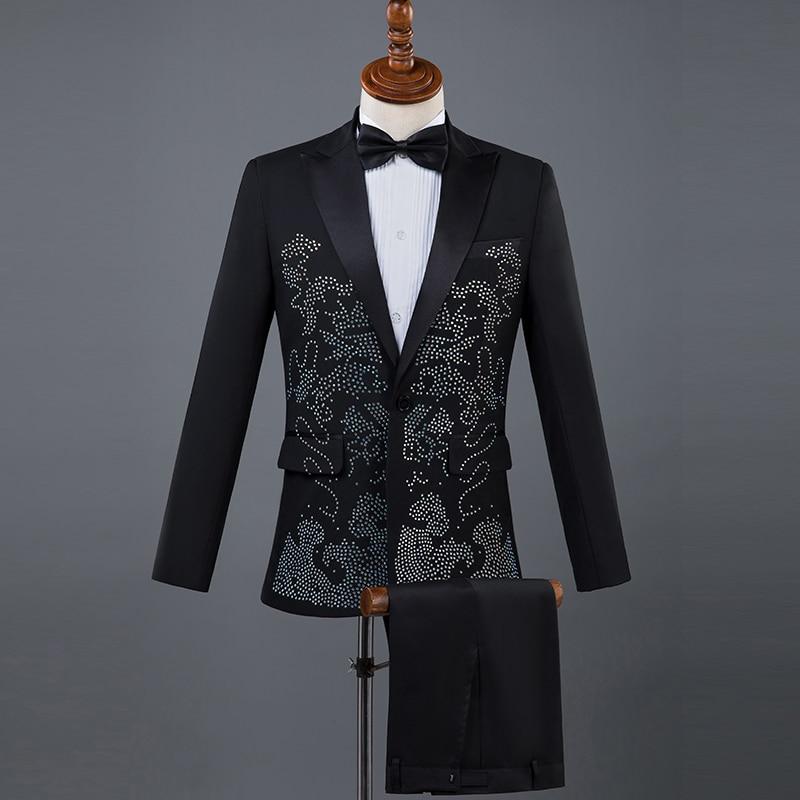 Chanteur Blazers veste Compere Maître Pantalon De Costume Strass Hommes Cravate black Pierres Diamant White Tenue En Lumineux Verre Adulte Scène wpgq4w7x