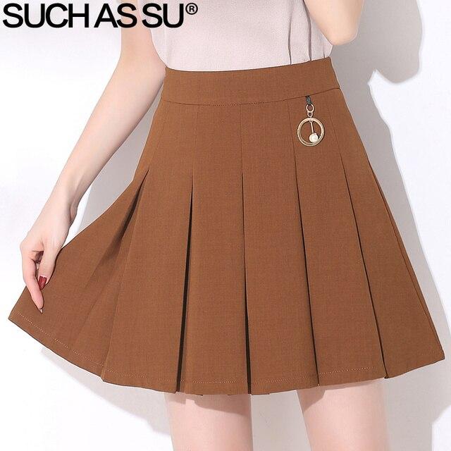 02375b7e6cdb SUCH AS SU New 2018 Spring Summer Mini Skirt Women Black Brown High Waist  Skirt S-3XL Casual Female Knit Pleated Skirt