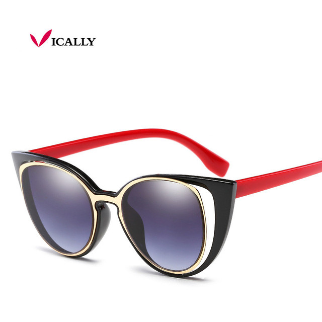5cda23250 Fashion Luxury Cat Eye Sunglasses Women Brand Designer Retro Pierced Female  Sun Glasses oculos de sol