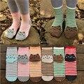 Caliente! 3D animales del estilo moda de rayas de dibujos animados mujeres gato 3D huellas lindo calcetines de algodón calcetines piso calcetines meias