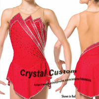 2016 Custom Red Figure Skating Dresses With Spandex New Brand Vogue Figure Skating Competition Dress Customized DR2996