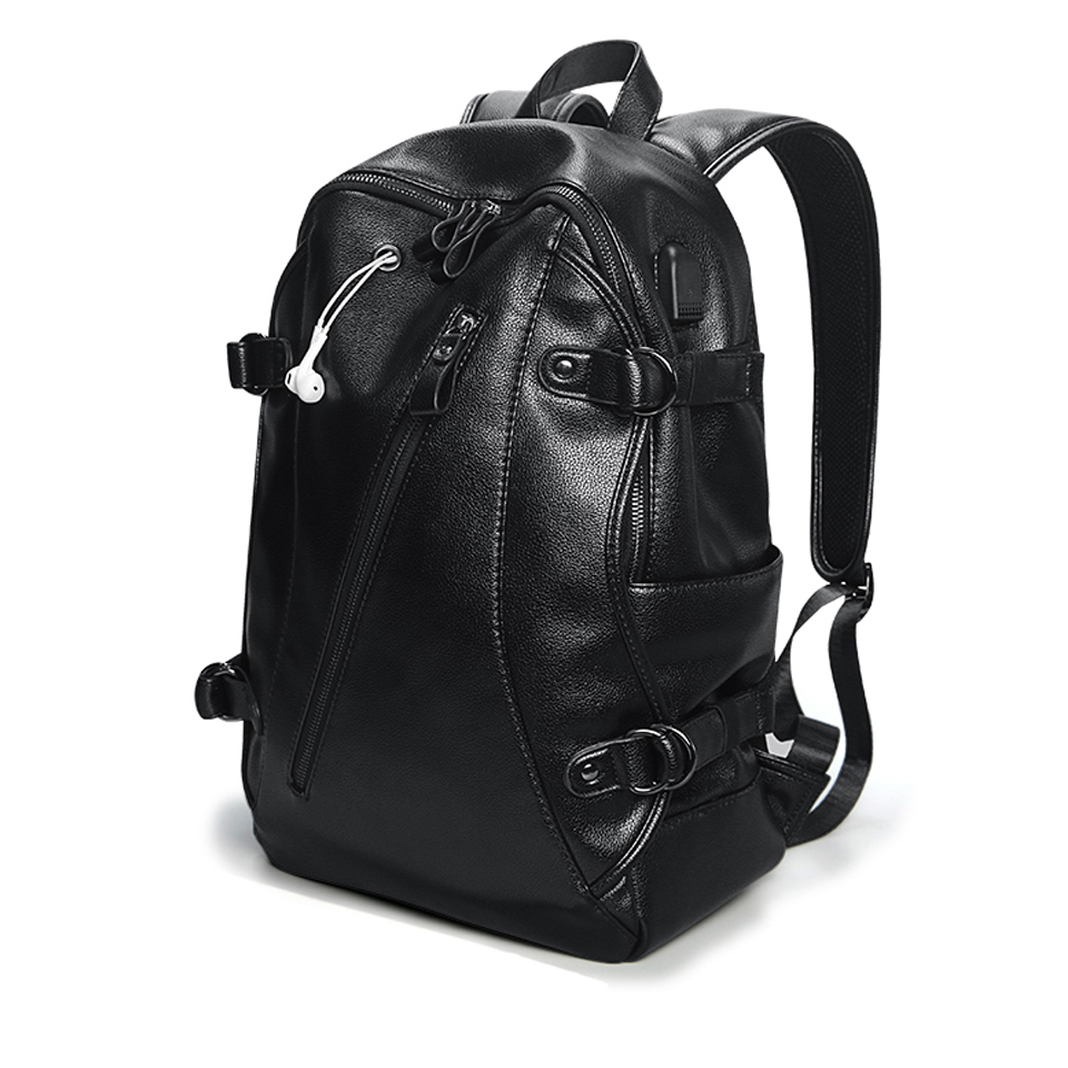 PU Leather Backpack Mens Laptop 17 Backpacks Male Waterproof Anti Theft Backpacking Women Student USB Charging Notebook Bag PackPU Leather Backpack Mens Laptop 17 Backpacks Male Waterproof Anti Theft Backpacking Women Student USB Charging Notebook Bag Pack