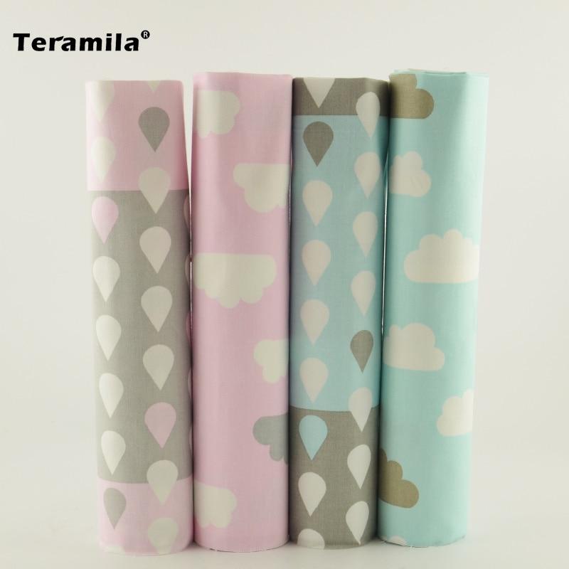 4 unids/lote 40 cm * 50 cm Azul Rosa de Algodón Tejido Textil para el Hogar ropa