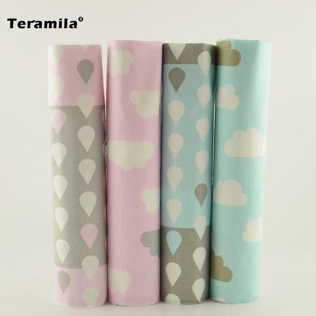 Teramila 4pcs/lot 40cm*50cm Blue Pink Cotton Fabric For Home Textile Bedding Quilting Tissue Patchwork Cushion Fabric Aquare