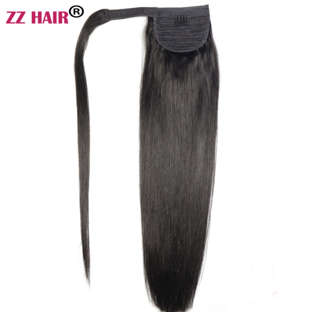 "ZZHAIR 100g 16 ""-26"" Maskin Made Remy Hair Magic Wrap Rundt Hestehale Clip In 100% Human Hair Extensions Horsetail Stragiht"