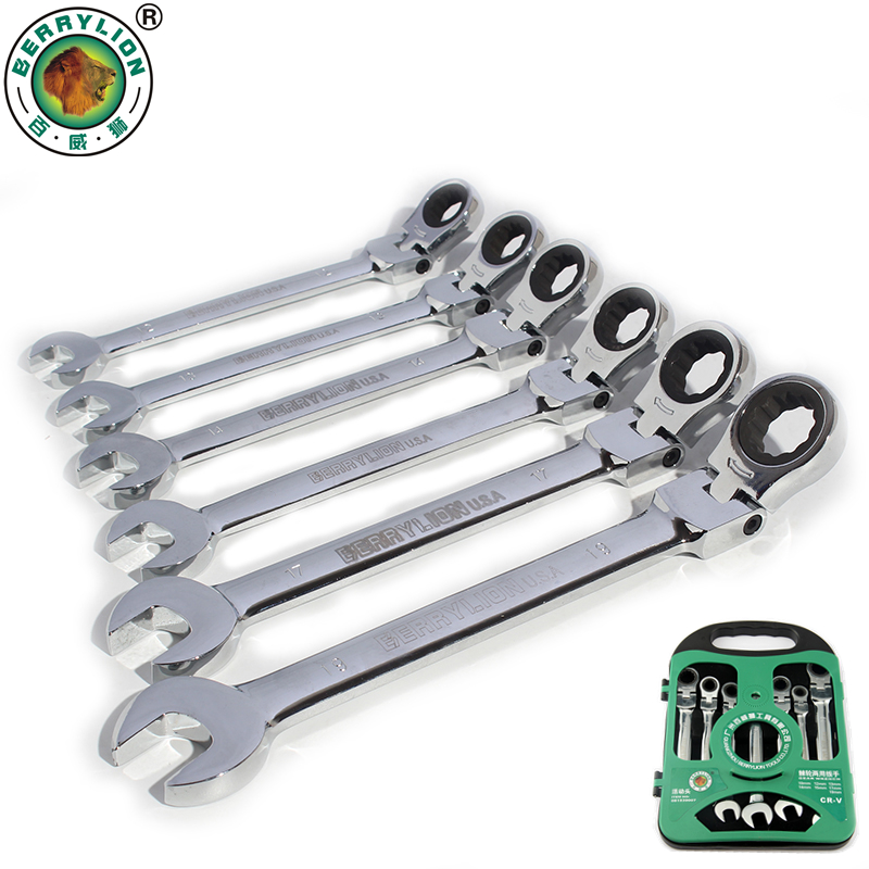 BERRYLION 7pcs Activities Ratchet Wrench Spanner Set 10mm-19mm Open End Combination Wrenches For Bike Repair Nut Tools xkai 14pcs 6 19mm ratchet spanner combination wrench a set of keys ratchet skate tool ratchet handle chrome vanadium