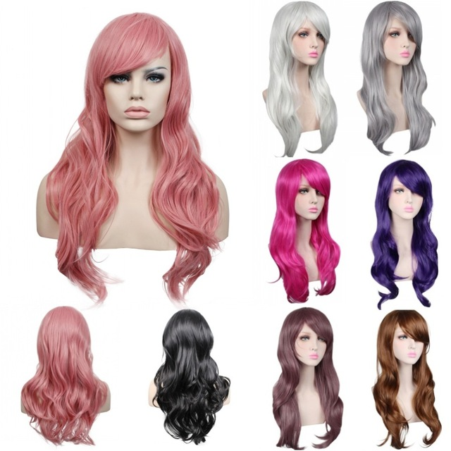 70 см Длинные Черный/красный/серебро ежедневно синтетический парик волос, термостойкие волокна аниме косплей парик волос, дамы волос партии парик плутон