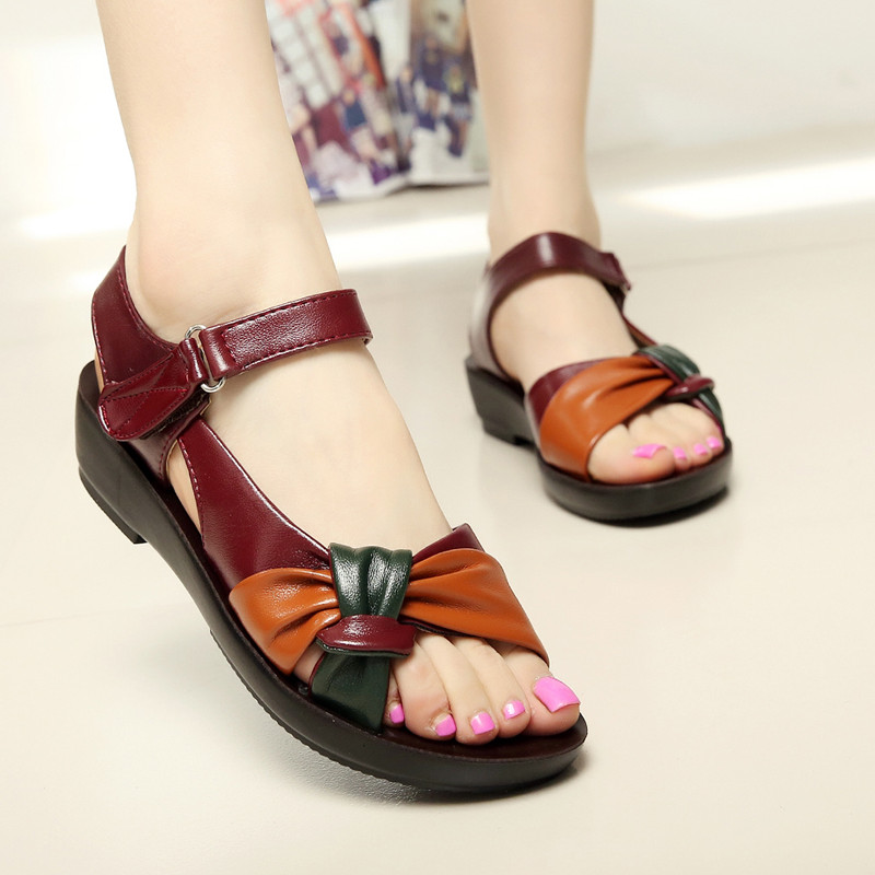 Women Leather Sandals Summer Hook Loop Beach Slippers Ladies Shoes Flats Soft Sandalias Zapatos Mujer недорго, оригинальная цена