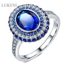 LUKENI New Design Luxury Micro Set Cubic Zircon Geometric Blue Zircon Rings For Girl To Gift Jewelry