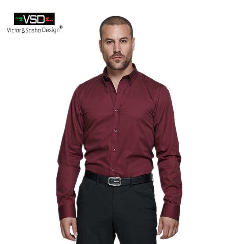 993d47083 VSD Italian Brand Office Causal Classic Shirts Style Men's long sleeve  shirt plus size dress slim
