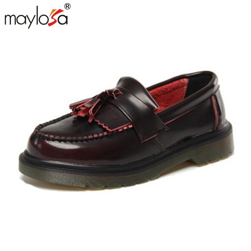 MAYLOSA High Quality Women oxfords Flats Platform shoes Genuine leather Slip-on pointed Creeper black Brogue Loafers Big Size 44 цена