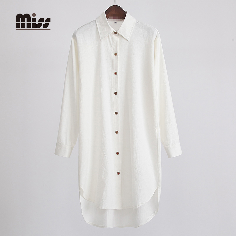Miss 2016 fashion korean spring women shirt dress linen for Long linen shirts for womens
