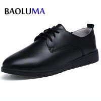 Baoluma Automne Femmes Oxford Chaussures Appartements Chaussures Noir Blanc Femmes En Cuir Lace Up Casual Chaussures Bateau Bout Rond Appartements Mocassins