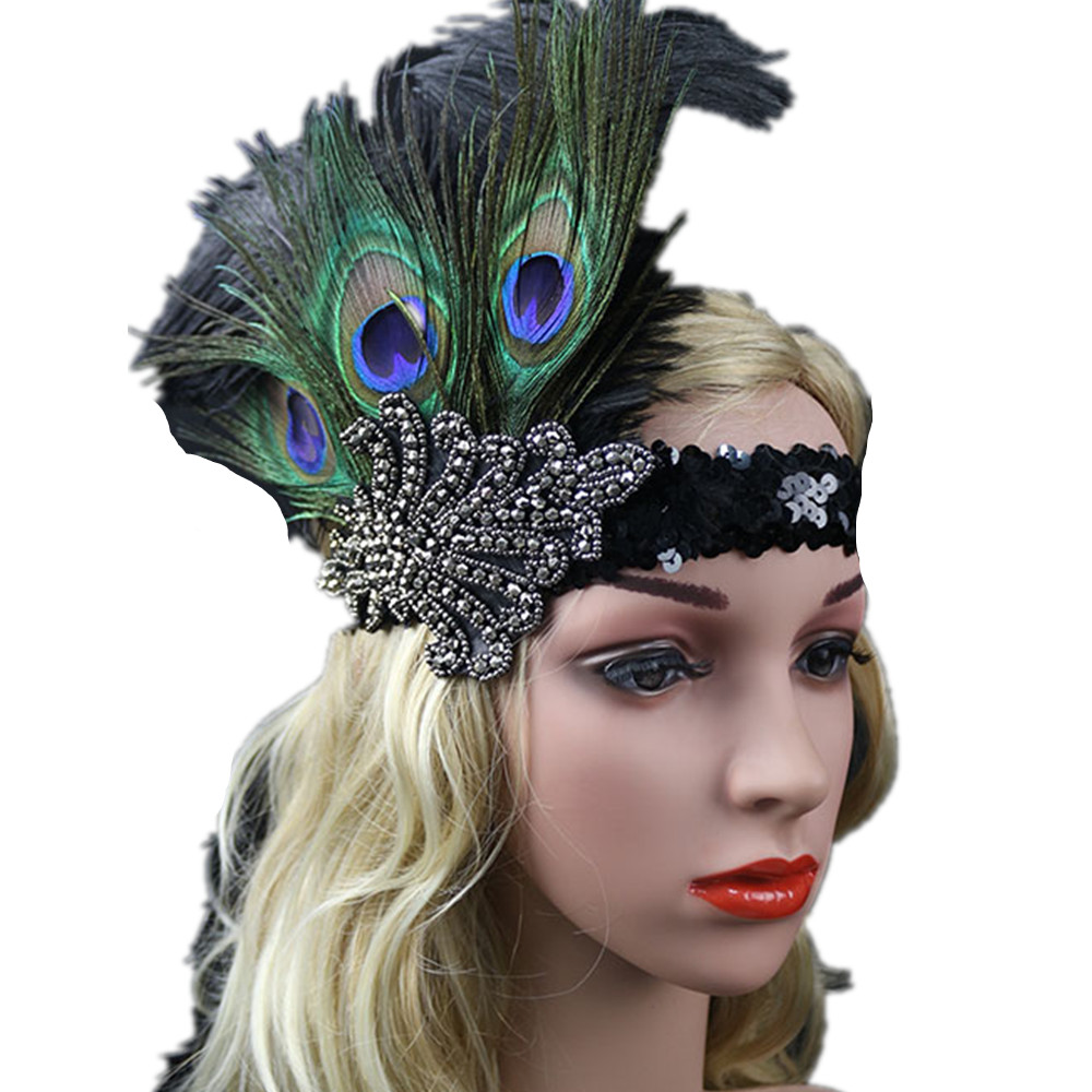 Costume Cosplay Feather Headband Flapper Party Accessories Sequin Hairband