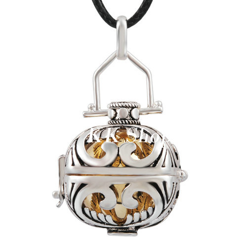 H01A21 Harmony Bola 20mm Silvery Cage Belly Ball Pendant Chime Necklace Sounds for font b Pregnant