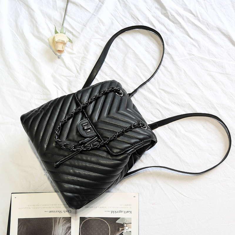 2019 New Fashion Women Geometric Plaid PU Leather Drawstring V Black Backpacks