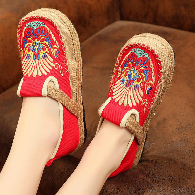 Veowalk Sepatu Chuanju Wanita Bordir Mask Linen Pantofel Kanvas Wanita Buatan Tangan Bekerja Sepatu Platform Sneakers