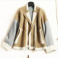 New pure mink cashmere sweater women 100% mink cashmere cardigans sweater thick winter sweater Loose