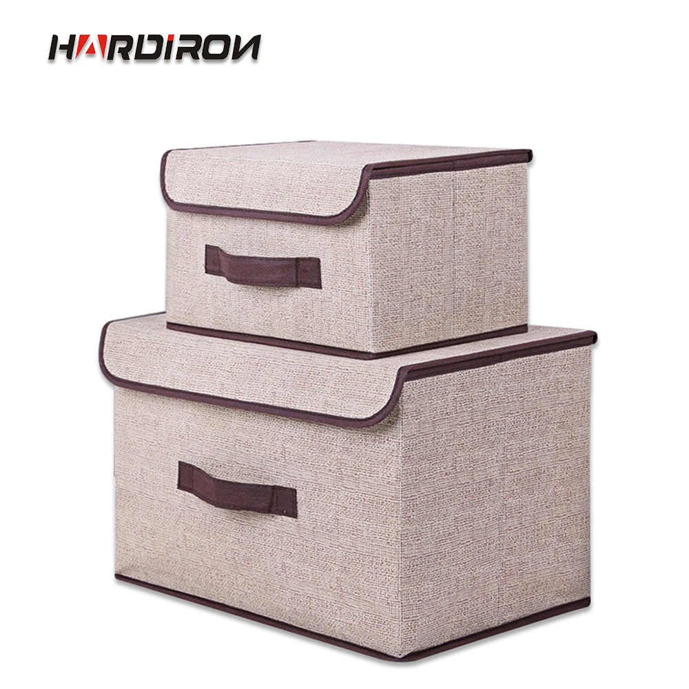 HARDIRON 1 Set Non-woven Folding Storage Box With Lid Clothes Storage Box Fabric Children's Toy Storage Box
