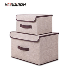HARDIRON 1 Set Non-woven Folding Storage Box With Lid Clothes Storage Box Fabric Children's Toy Storage Box 05 2 004 folding double open visual storage box for clothes grey