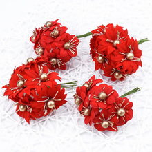 6pcs Artificial flowers DIY Christmas for scrapbooking Fake plants diy gifts box Garlands bride brooch cheap silk stamen