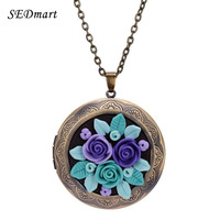 SEDmart Colorful Fimo Polymer Clay Rose Flower Floating Locket Pendant Necklace For Women Gift Vintage Bronze