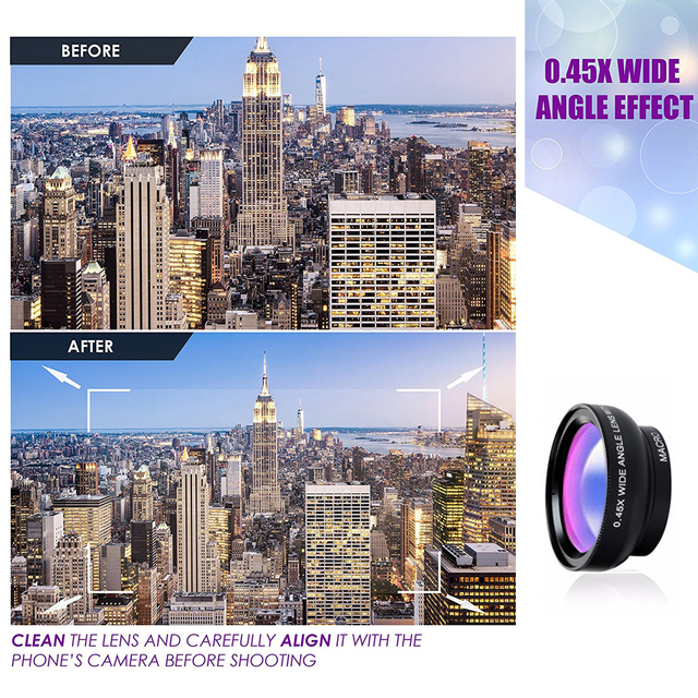 APEXEL 2 in 1 Phone Camera Lens kit 0.45x  Wide Angle & 12.5x  Macro Lens HD Camera Lentes for ios android smartphones 2