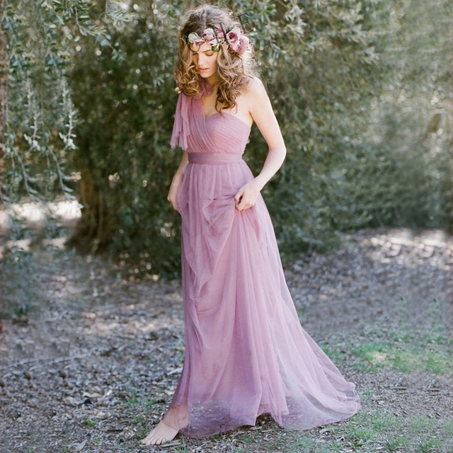 Vestidos De Novia Pastel Mismatched Purple And Lavender Bridesmaid Dresses Vintage Vestido De Festa Longo Beautiful Plus Size