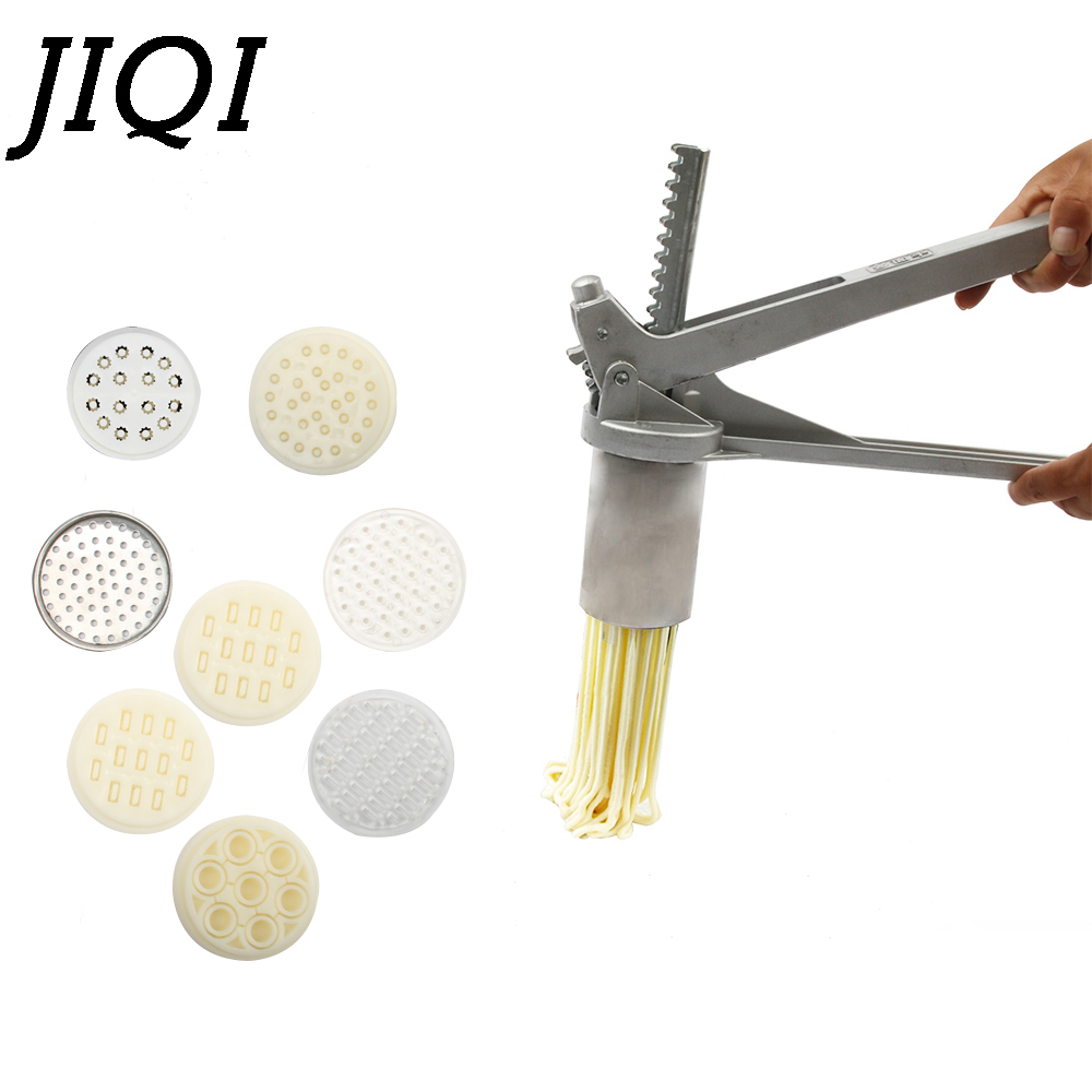 JIQI 8 Mode Stainless Steel Pasta Maker Handmade Noodles Press Spaghetti Noodle Press Machine Hand Operated Dough Cutter Molds