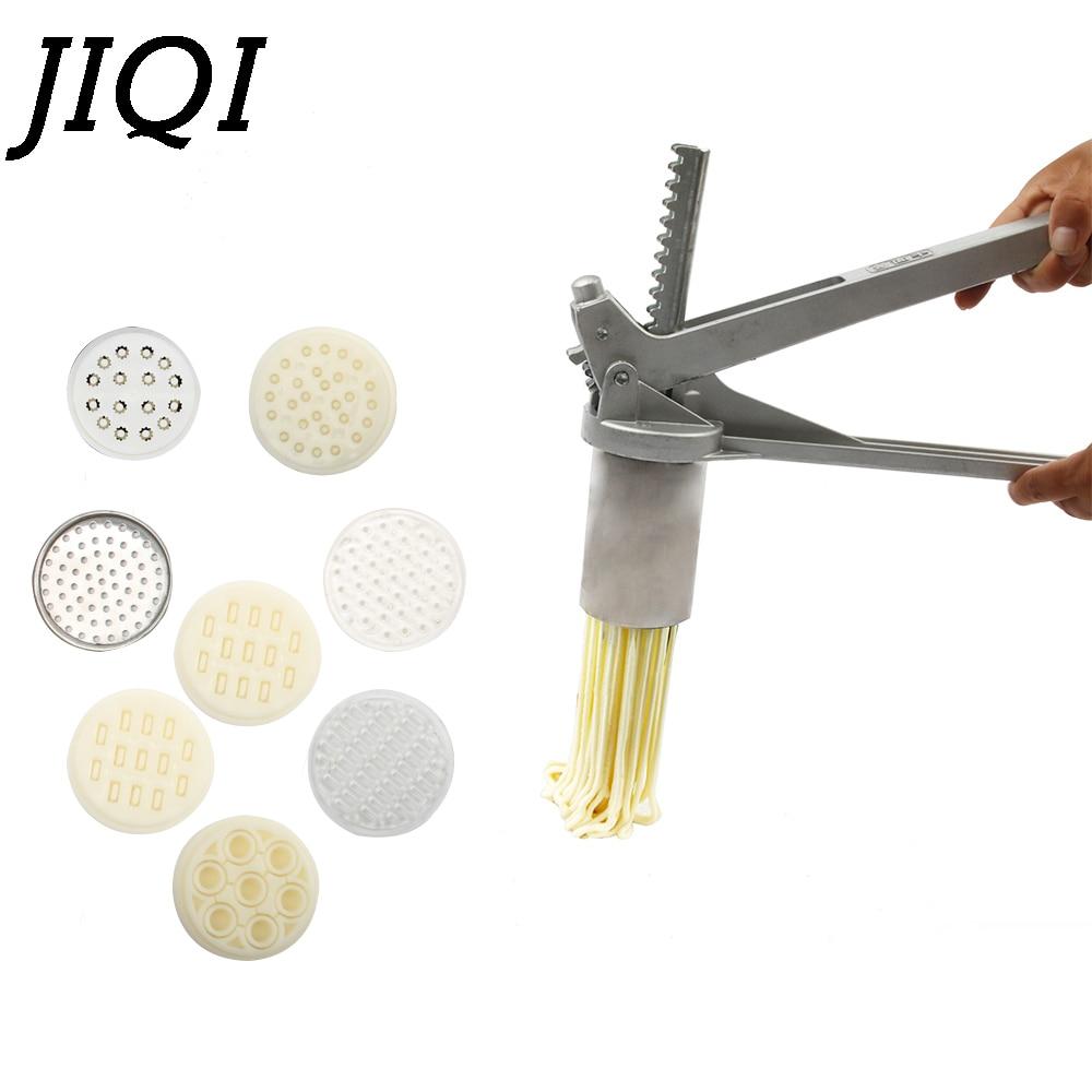JIQI 8 Mode Stainless Steel Pasta Maker Handmade Noodles Press Spaghetti Noodle Press Machine Hand Operated Dough Cutter Molds цена и фото