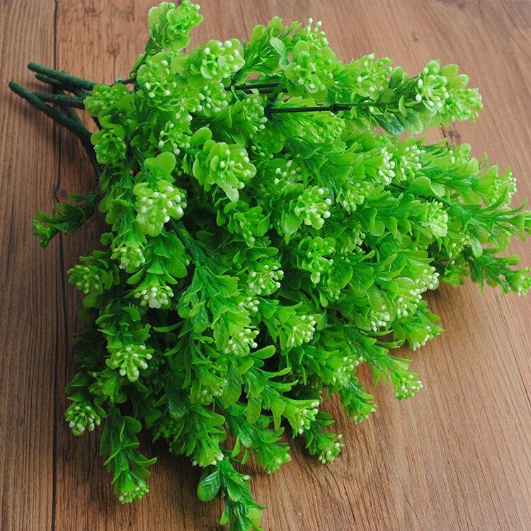 5pcs wholesale 7 Branch Artificial Green Plant Fake Milan Grass Bonsai Decoration Leaf Corner Lawn Decoration