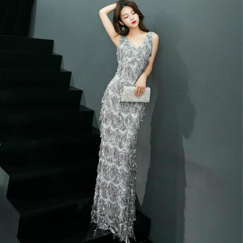 U-SWEAR 2019 New Arrival Summer   Bridesmaid     Dresses   V-neck Sequined Backless Mermaid/Trumpet Elegant Sexy Prom Dressess Vestidos