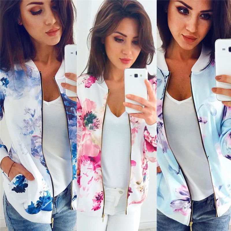 Spring Autumn Women Basic Coats Long Sleeve Top Fashion Casual Slim Fit Flower Floral Print Zipper Baseball Women Jacket Mujer