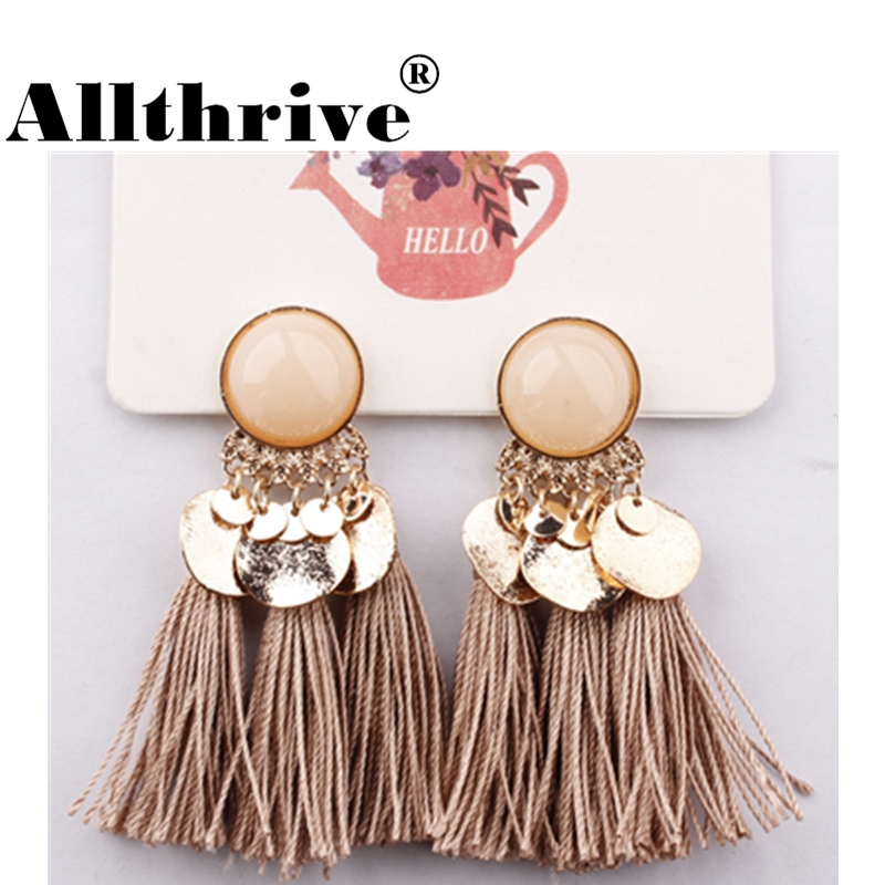 2018 Ethnic Bohemia Women Dangle Drop Earrings Summer Round Resin Tassel Earrings for Women Fashion Jewelry Pendientes oorbellen