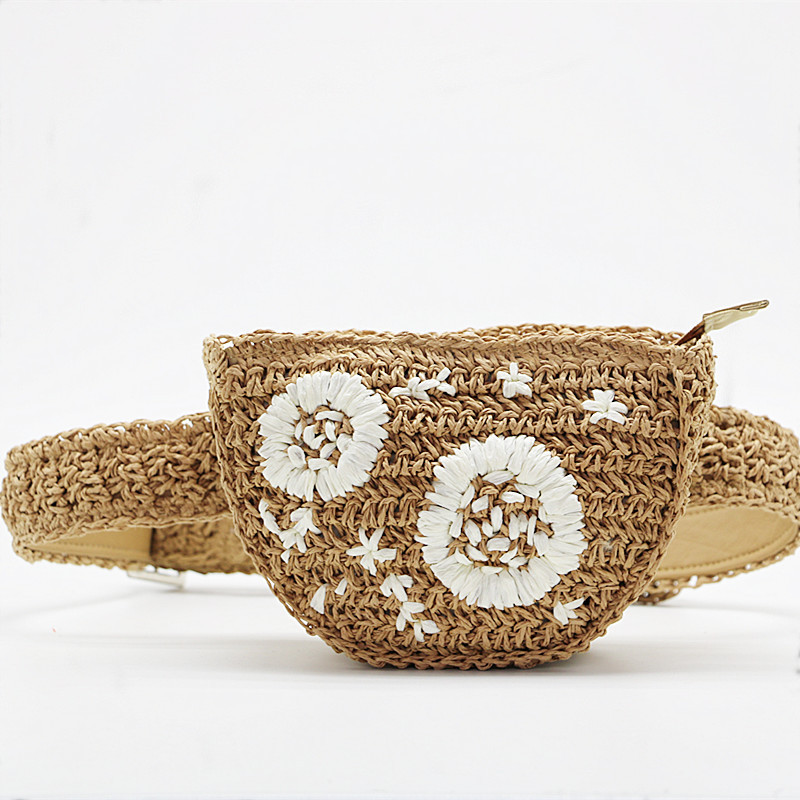 Flower Straw Waist Pack Men Women Can Be Fitted With Mobile Phone Keys Purse Grass Women Bag Bolso Borsetta Portmonetka