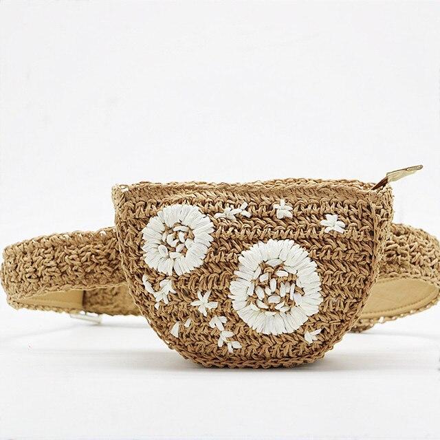 Pacote de Cintura bolsa de Palha flor bolsa das mulheres dos homens pode ser equipado com teclas do telefone móvel grama mulheres saco bolso borsetta portmonetka