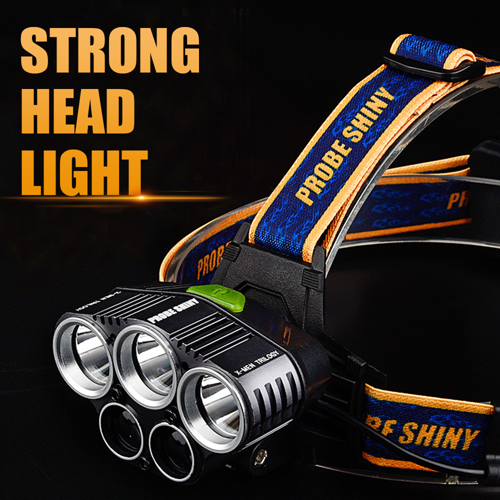 Super Headlamp LED USB Rechargeable 5Leds Torch Headlights LED Flashlight 18650 Battery Head Lamp Lanterns Fishing Camping Light
