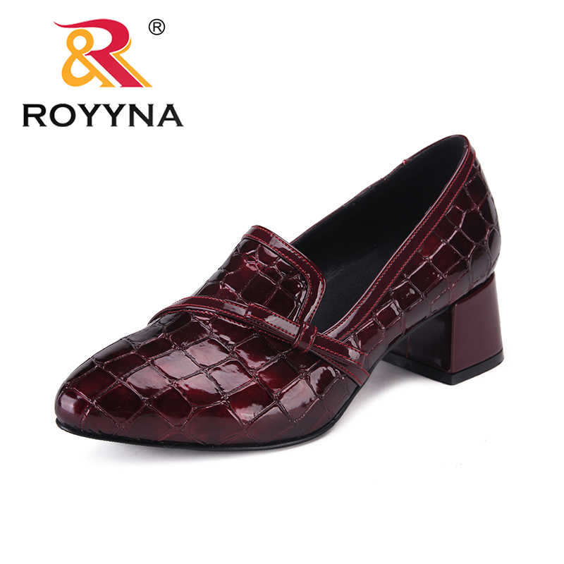 ROYYNA New Fashion Style Women Pumps Pointed Toe Femme Office Shoes Square Heels Female Formal Shoes Slip-On Lady Wedding Shoes asumer high heels large size 33 41 office shoes pointed toe square heels slip on women pumps sequined black apricot lady shoes