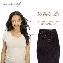 16″(40cm) Black #2 7pcs/set 100g High Quality 100% Brazilian Remy Human Hair Straight Clip In Hair Extensions