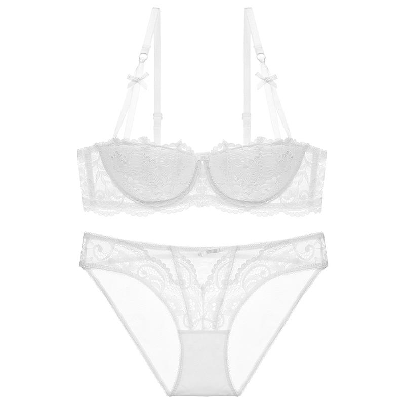 Varsbaby new sexy black lace half cup thin underwear gather women bra sets