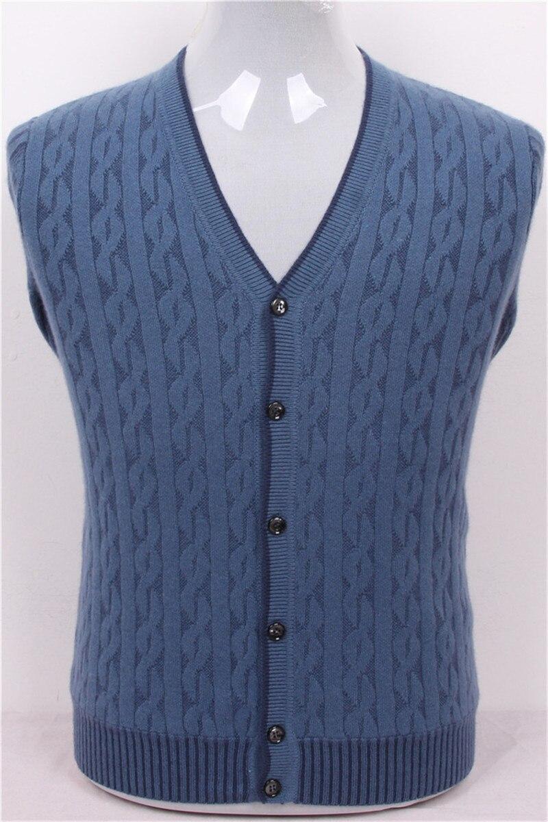 100% ziege kaschmir faden stricken männer fashion v-ausschnitt H-gerade dicke strickjacke dunkelgrau 2 farbe S/3XL